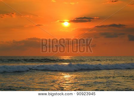 beautiful landscape with tropical sea sunset and waves