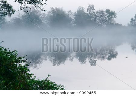 fog over morning lake