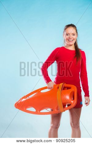 Girl Lifeguard With Equipment Float