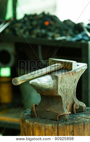 Tools- Hammer On Blacksmith Anvil