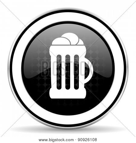 beer icon, black chrome button, mug sign