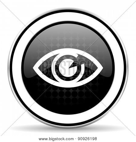eye icon, black chrome button, view sign