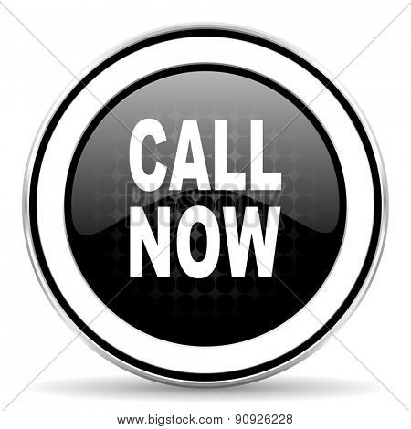 call now icon, black chrome button