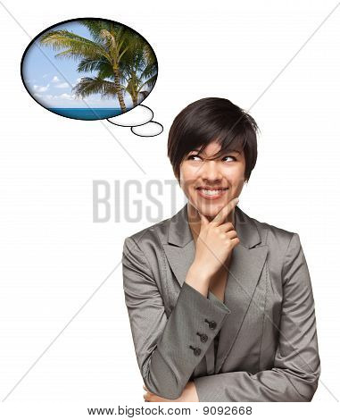 Beautiful Multiethnic Woman With Thought Bubbles Of Tropical Place