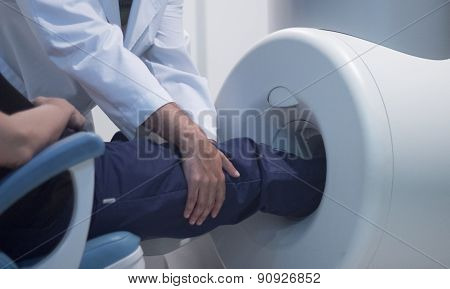 Patient And Doctor In Fully Open Mri Cat Scan