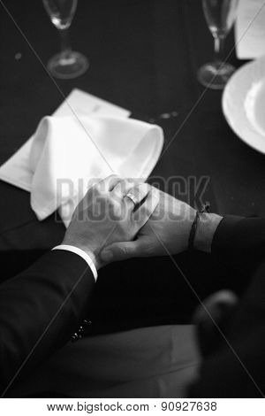 Bride And Groom Holding Hands In Wedding Banquet Dinner Reception