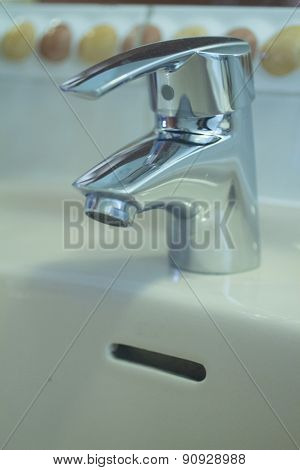 Domestic Bathroom Wash Basin Tap Close-up