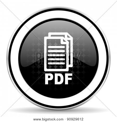 pdf icon, black chrome button, pdf file sign
