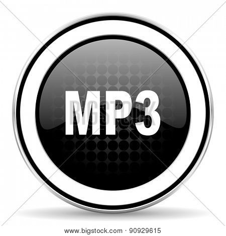 mp3 icon, black chrome button