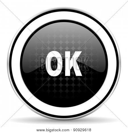 ok icon, black chrome button