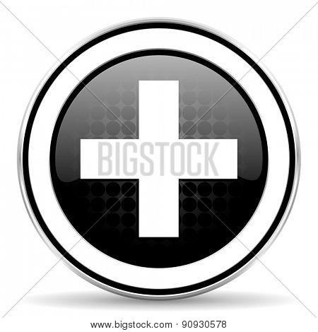 plus icon, black chrome button, cross sign