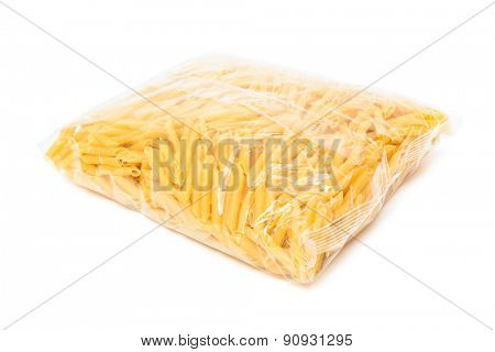 pasta in the package on a white background