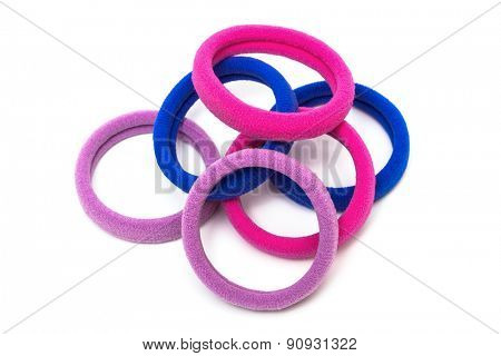 rubber bands for hair on a white background
