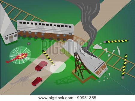 Illustration Presentation of a Train Accident Rescue Operation