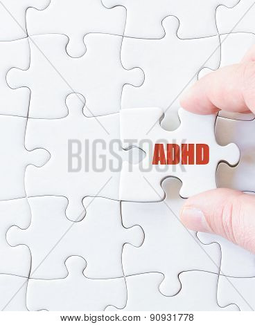 Missing Jigsaw Puzzle Piece With Word  Adhd