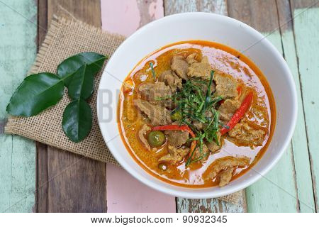 Savory Curry With Pork (thai Food Name Panang)
