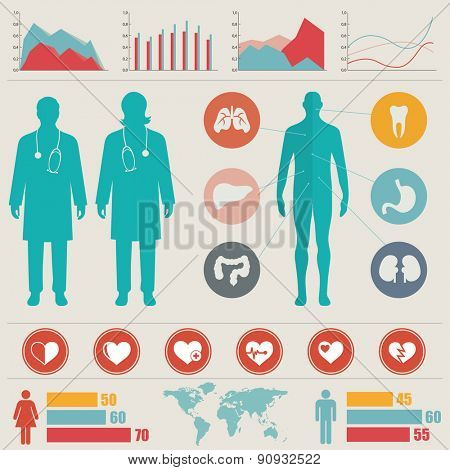 Medical Info graphic set. Vector illustration.