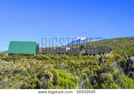 Huts At Mount Kilimanjaro, The Highest Mountain In Africa