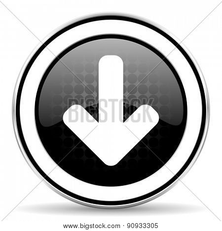 download arrow icon, black chrome button, arrow sign
