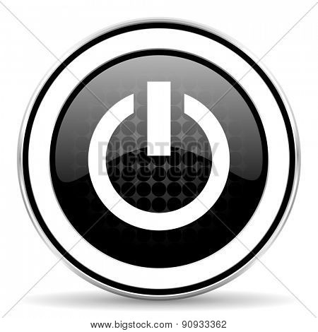 power icon, black chrome button, on off sign