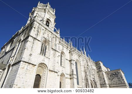 Main facade of Jeronimos Monastery, Lisbon, Portugal.