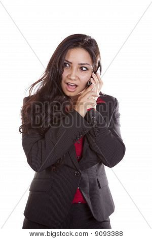 Business Woman On Phone Surprised.