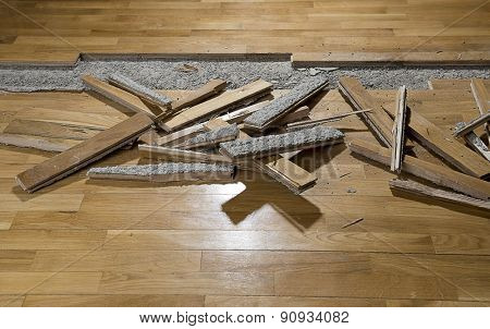 Damaged Parquet with space for your text.