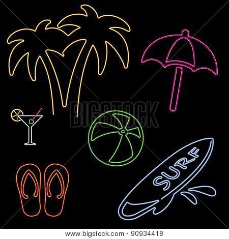 Vector Neon Beach Icons