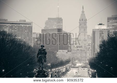 George Washington statue and street in Philadelphia