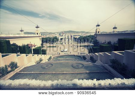 Retro styled photo of Placa De Espanya, Barcelona, Spain