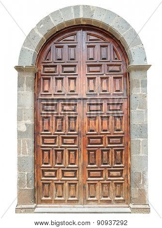 Old wooden arch door isolated on white background.
