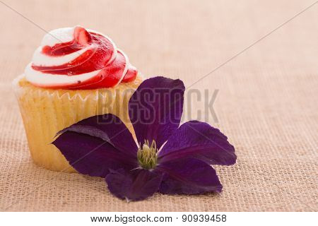 Cupcake with a Clematis flower on burlap background - a simple romantic gift