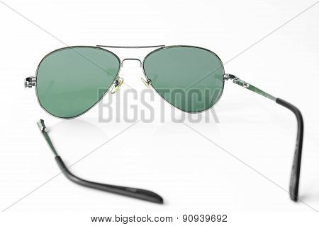 Shabby Old Sunglasses On White Background