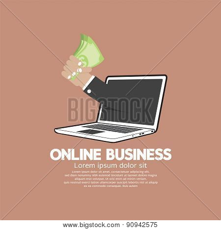 Banknotes In Hand Online Business Concept.