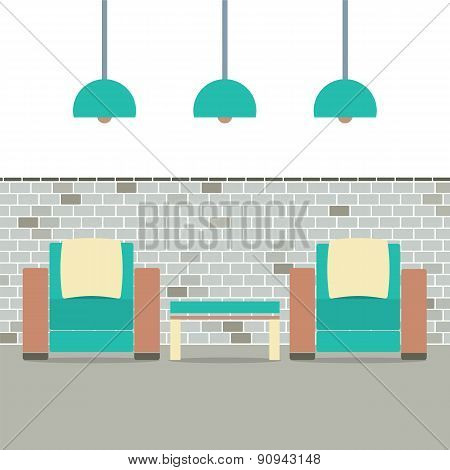 Sofas With Modern Lamp On Brick Background.