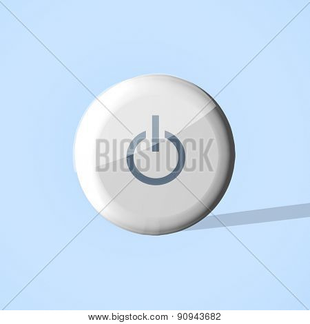 Glossy Play Button Gray on blue 3d