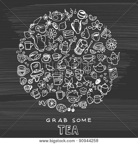 Hand Drawn Tea Background