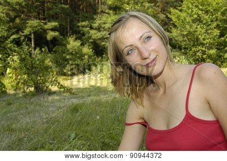 Nice Girl On The Grass-plot
