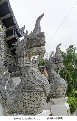 Serpentwat Chedi Luang Chiang Mai in Thailand. It is an ancient pagoda.