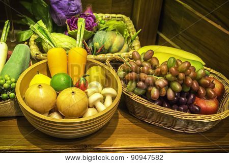 Fruits And Vegetable In Basket