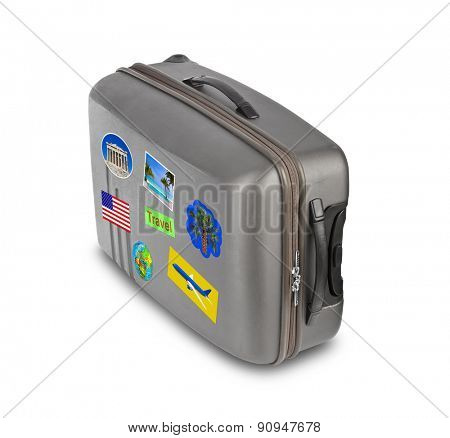 Travel case with stickers (my photos) isolated on white background