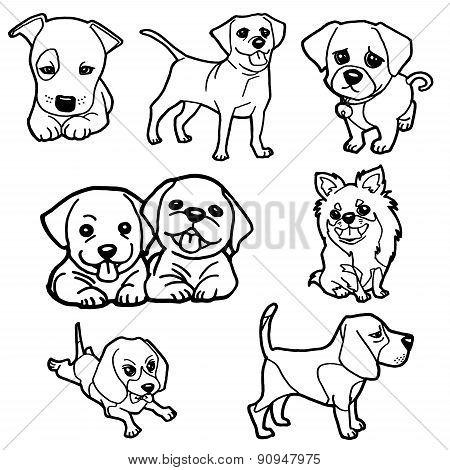 puppy coloring book set vector
