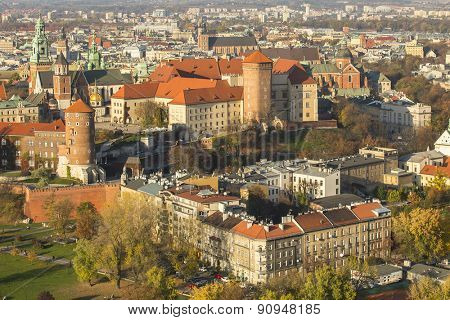 KRAKOW, POLAND - CIRCA OCT, 2013: View of Royal Wawel castle. The monument to the history of the Decree of the President Lech Walesa on Sep 8, 1994.