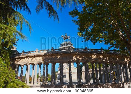 Monument to Alfonso XII in the Park of the Pleasant Retreat in Madrid Spain - architecture background
