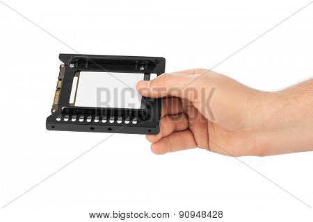 Hand and computer SSD drive isolated on white background