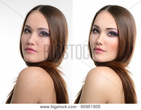 Portrait of beautiful girl before and after retouching. Aging and youth, acne beauty treatment.