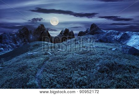 Path Through Boulders On Hillside At Night