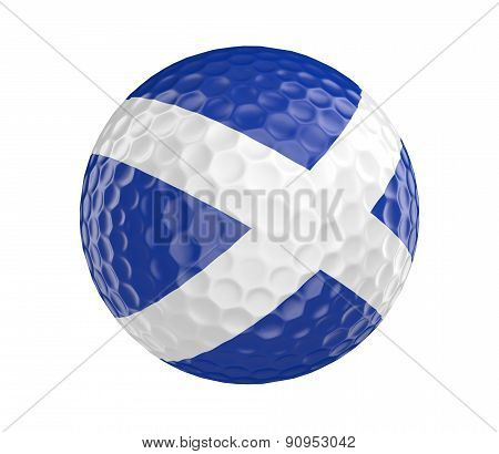 Golf ball 3D render with flag of Scotland, isolated on white