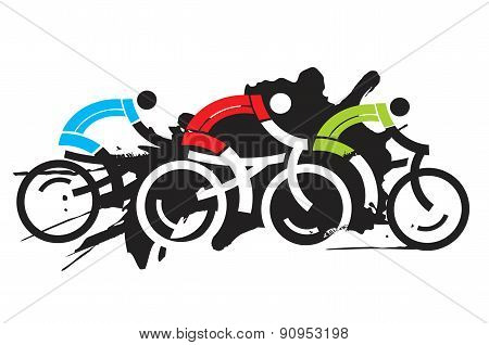 Three cyclist racers
