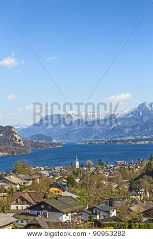 Landscape Of Sankt Gilgen With The Wolfgangsee And The Alps
